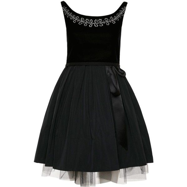 Marc by Marc Jacobs Solid Poly Faille Boat Neck Party Dress ($758) ❤ liked on Polyvore featuring dresses, bow tie dress, black cocktail dresses, fitted tops, black a line cocktail dress en a line cocktail dress