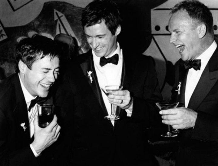 Robert Downey jr, Hugh Jackman, and Sting