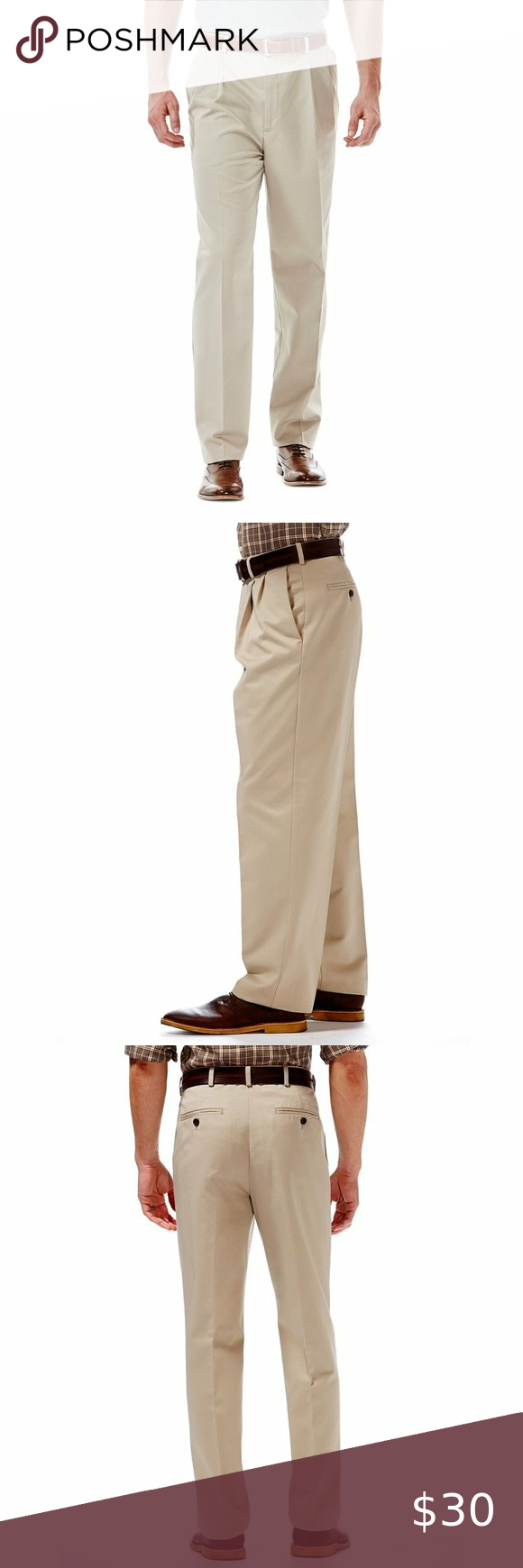 Nwt Mens Size 34x34 Haggar Flat Front Khaki Pants In 2020 Khaki Pants Khaki Pants Work Haggar