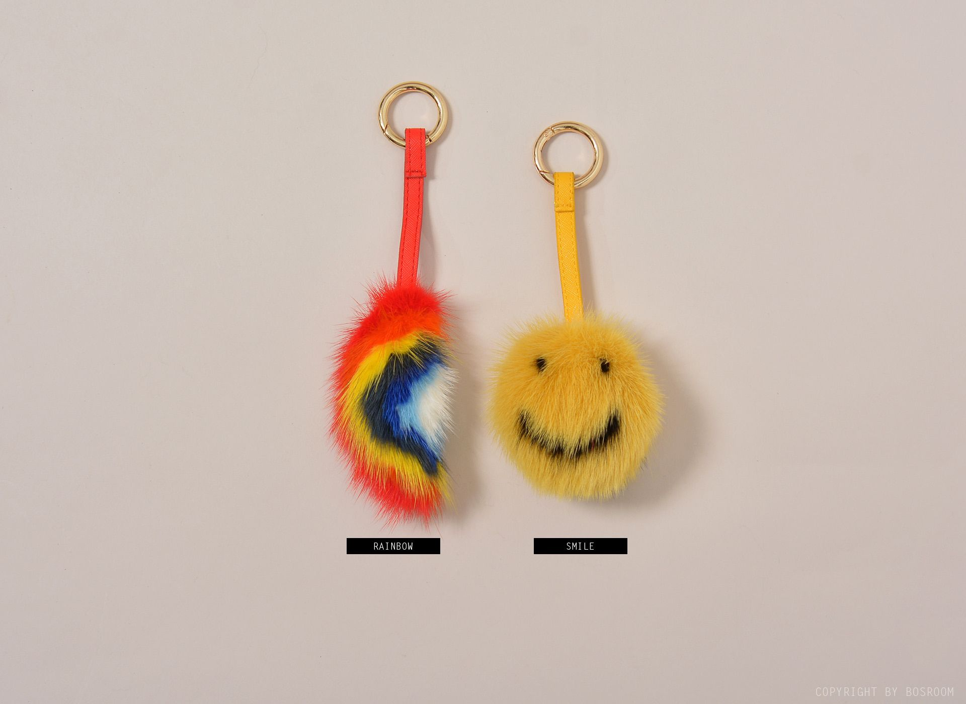 Smile & Rainbow Fox Fur Key Ring