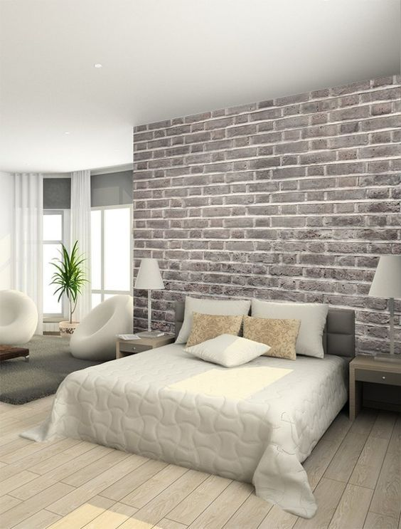 Diy Creer Un Mur De Briques Avec Du Papier Peint Floriane Lemarie Brick Wallpaper Bedroom Brick Wall Bedroom Wallpaper Design For Bedroom