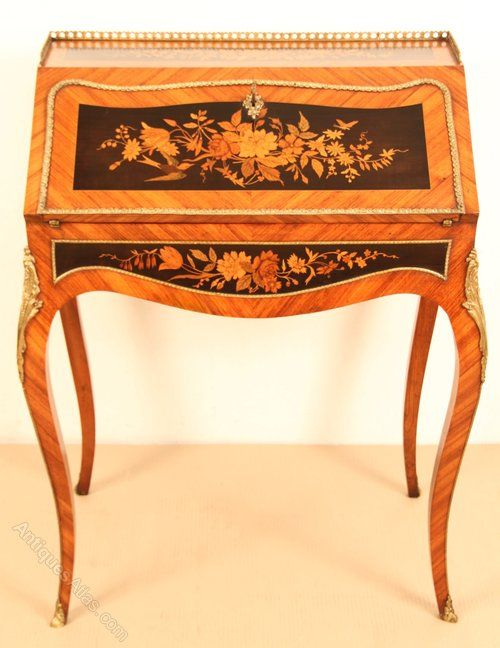 French Marquetry Bureau De Dame   Antiques Atlas. Antique French  FurnitureMarquetry