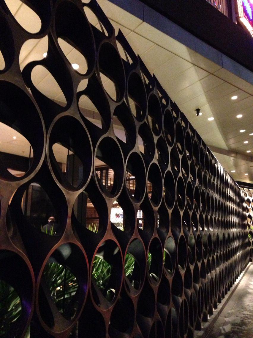 Metal facade wall at Crown Casino entrance Metal facade