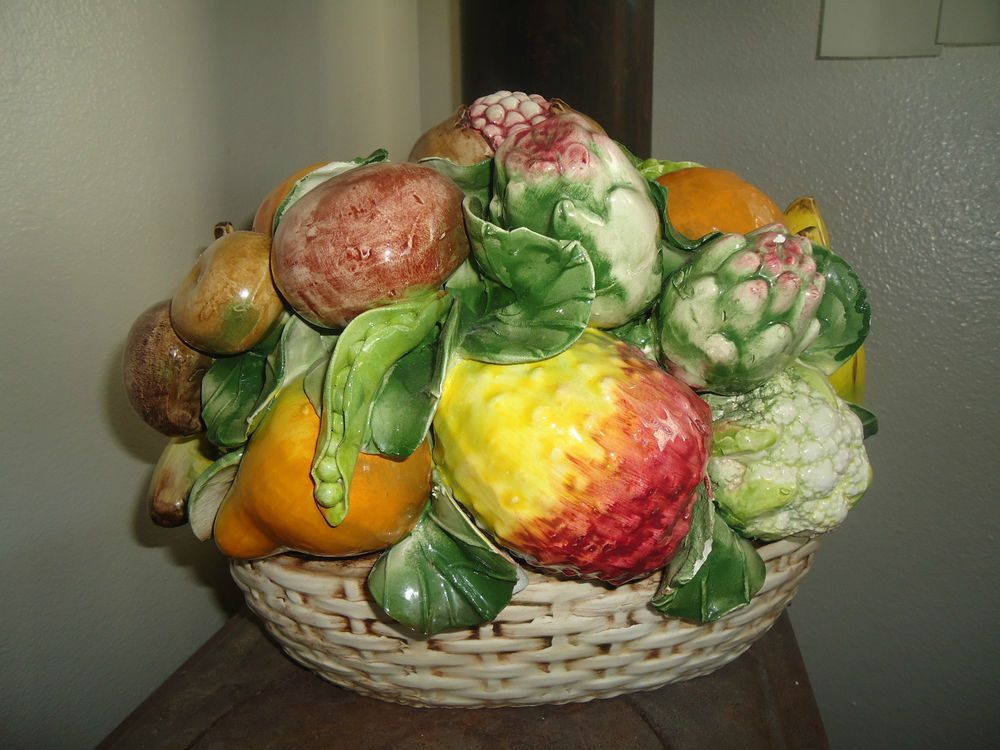 Intrada Large Italian Ceramic Rustic Centerpiece Fruit Basket Bowl Made In Italy