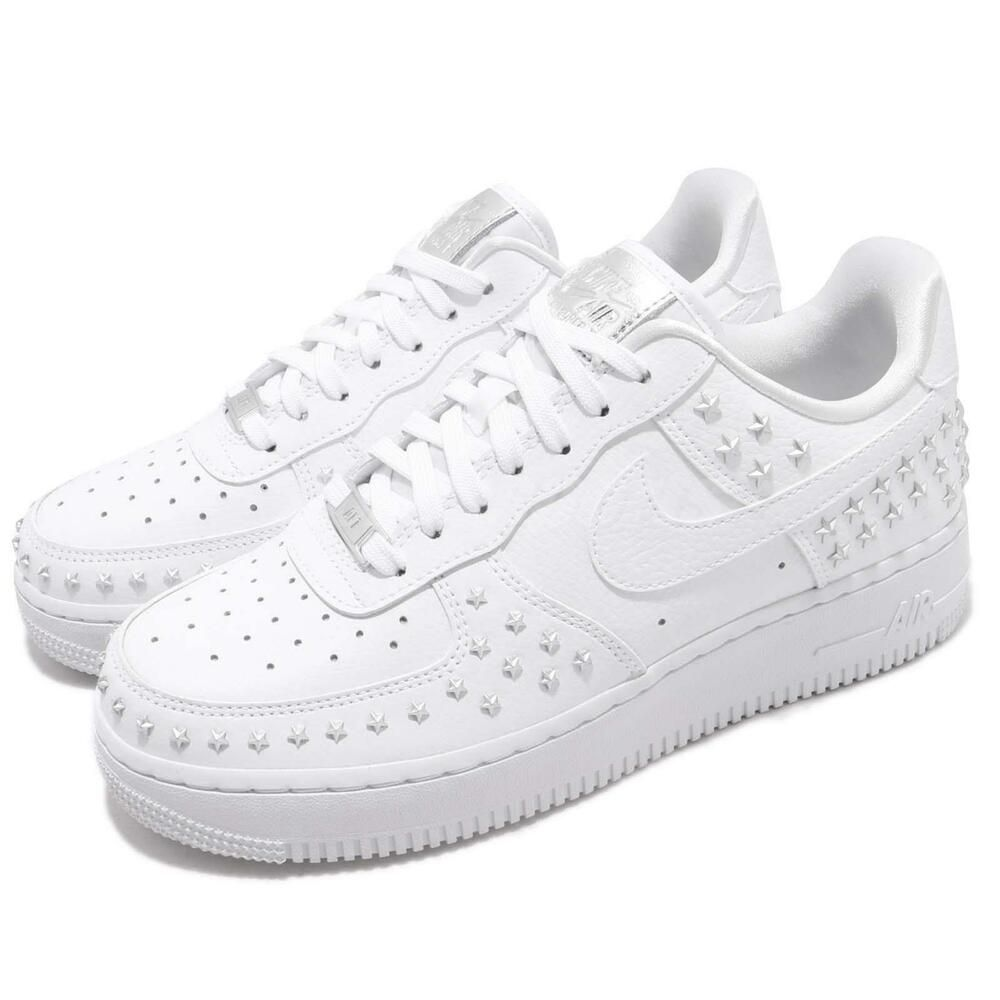 Details about NIKE WMNS AIR FORCE 1 '07 XX AR0639 100 WHITE SILVER STAR STUDDED