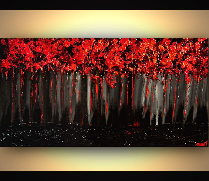 Prints Painting Red Forest On Black Background Blooming Trees Painting Heavy Impasto 7363 Blooming Tree Painting Tree Painting Abstract Art Poster