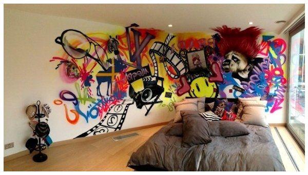Resultado de imagen de graffitis en paredes de casa for Graffitis para habitaciones