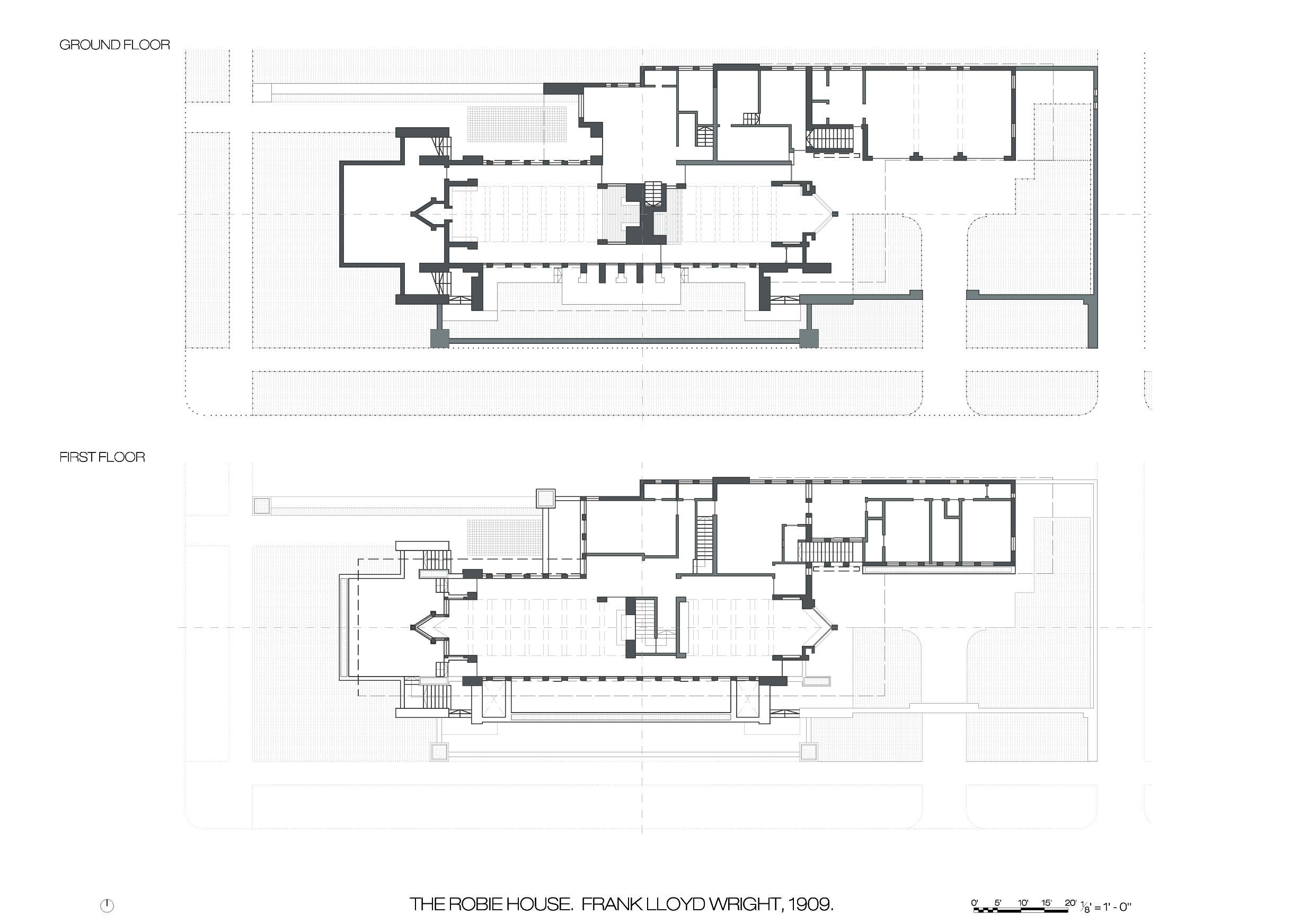 Frank lloyd wright robie house hyde park chicago 1909 for Hyde homes floor plans