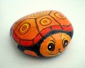 Orange Turtle Painted Rock, Home Garden Decor, paper weight, Gift Under 25 for animal lovers, collectibles