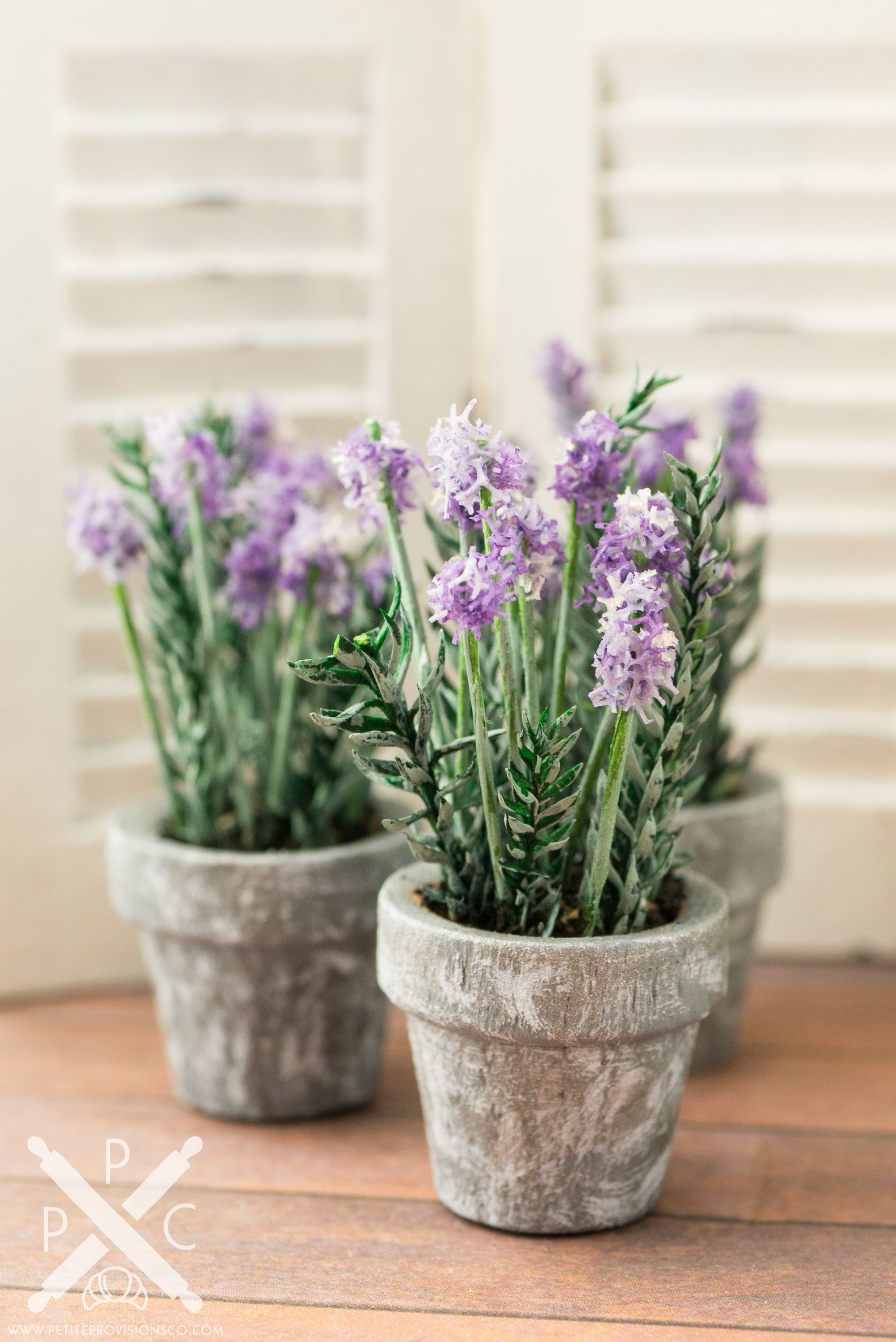Purple Hydrangea Flower Dollhouse Miniature Clay Handmade Plant Pot Garden Decor