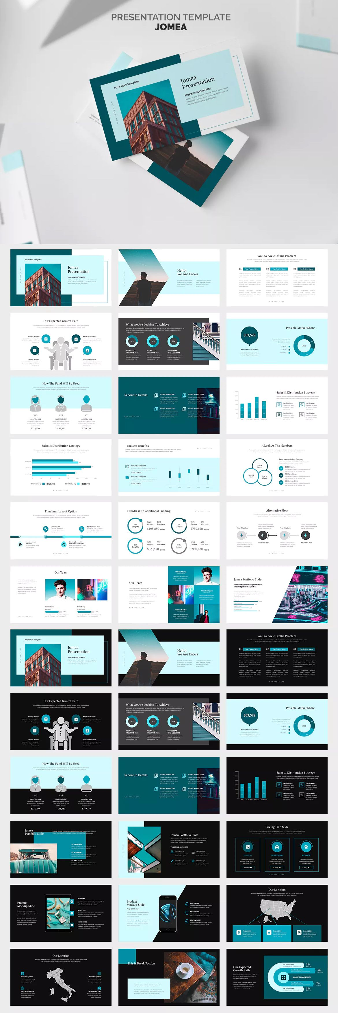 Jomea : Cyan Color Tone Pitch Deck Powerpoint Presentation Template