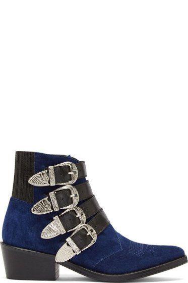 Toga Pulla Black Five-Buckle Heeled Western Boots GeZLxYIEj