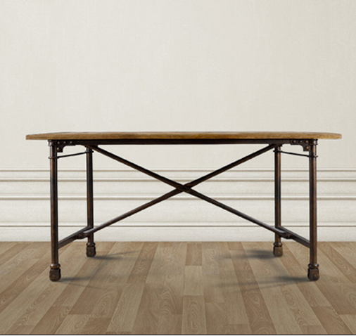 Architect Reclaimed Dining Table  Steel Legs On Casters Wheels | Zin Home