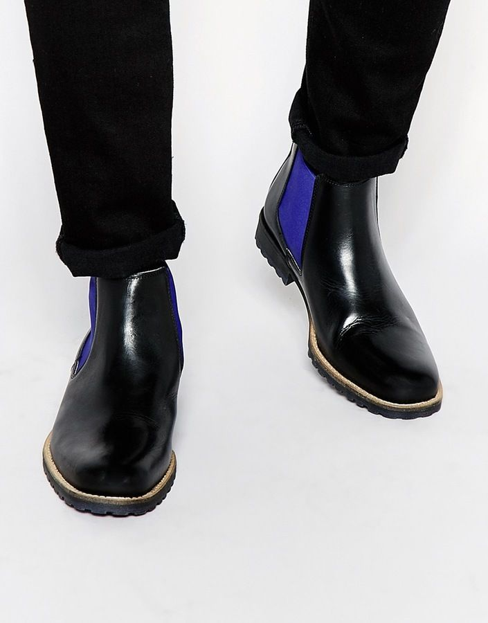 $178, Dune Leather Chiggy Chelsea Boots. Sold by Asos. Click for more info: https://lookastic.com/men/shop_items/337967/redirect