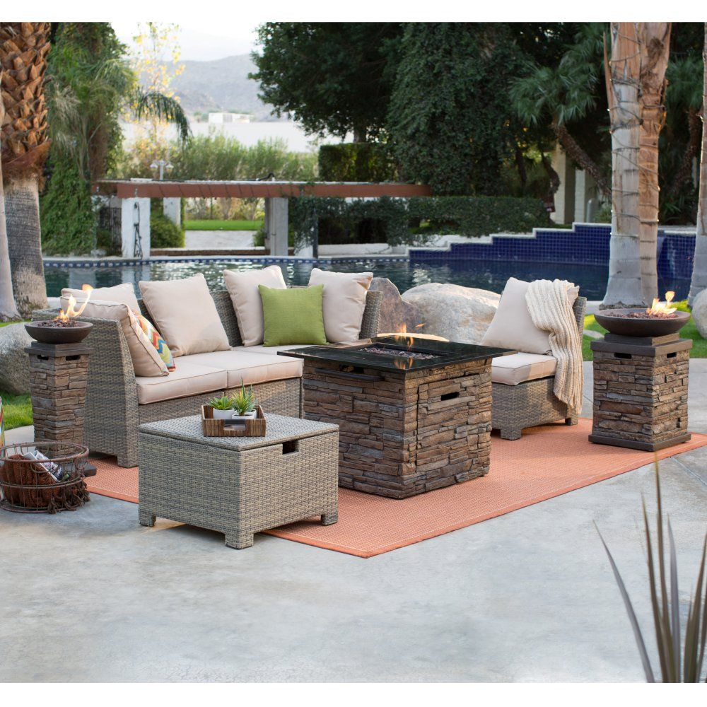 C Coast South Isle Natural Sectional Set With Coronado Gas Fire Pit Table Patio Sets At Hayneedle