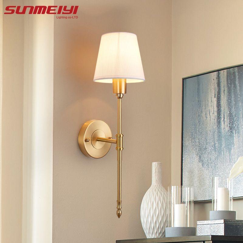 New Full Copper Wall Lamps Lampara De Pared Dormitorio Led Indoor Wall Lights Loft Corridor Living Co In 2020 Indoor Wall Lights Wall Lights Living Room Light Fixtures