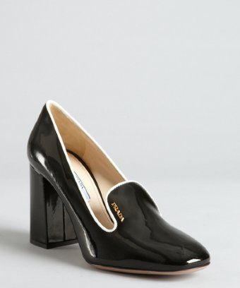 f4740c733b1 so 80 s - Prada   black and white patent leather block heel loafer pumps