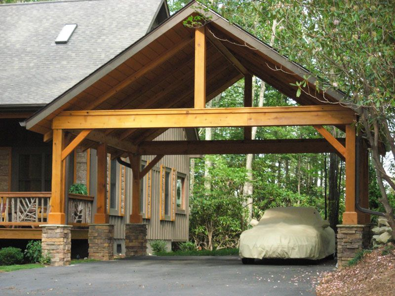 Carport with pitch roof open gable timber frame half for Timber carport plans