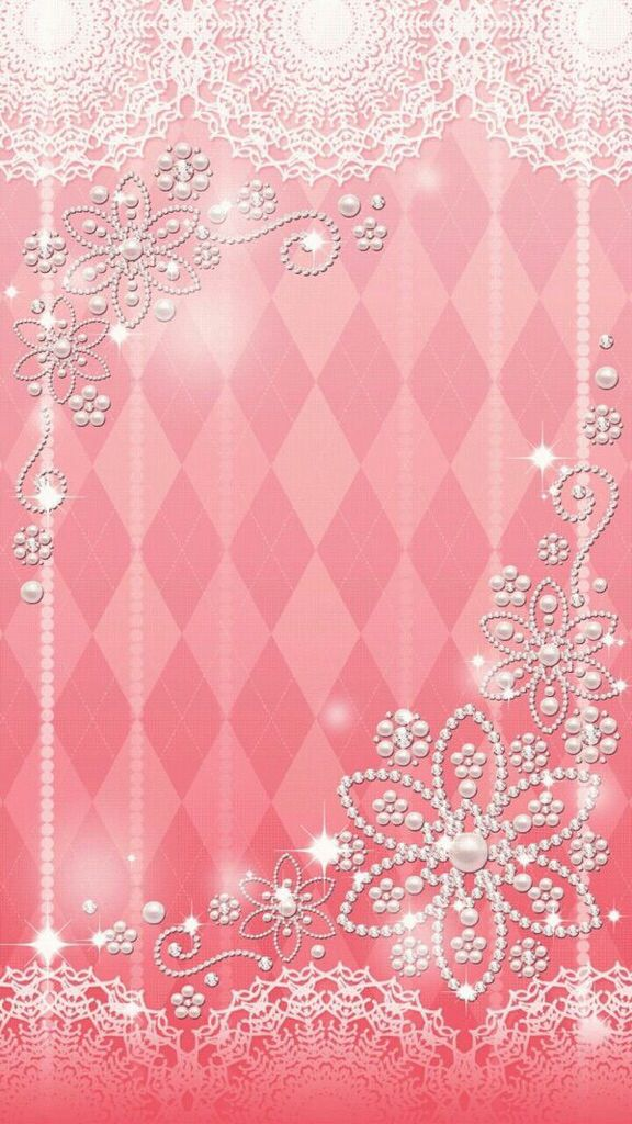 Pink & White Lace& Pearls Wallpaper...By Artist Unknown ...
