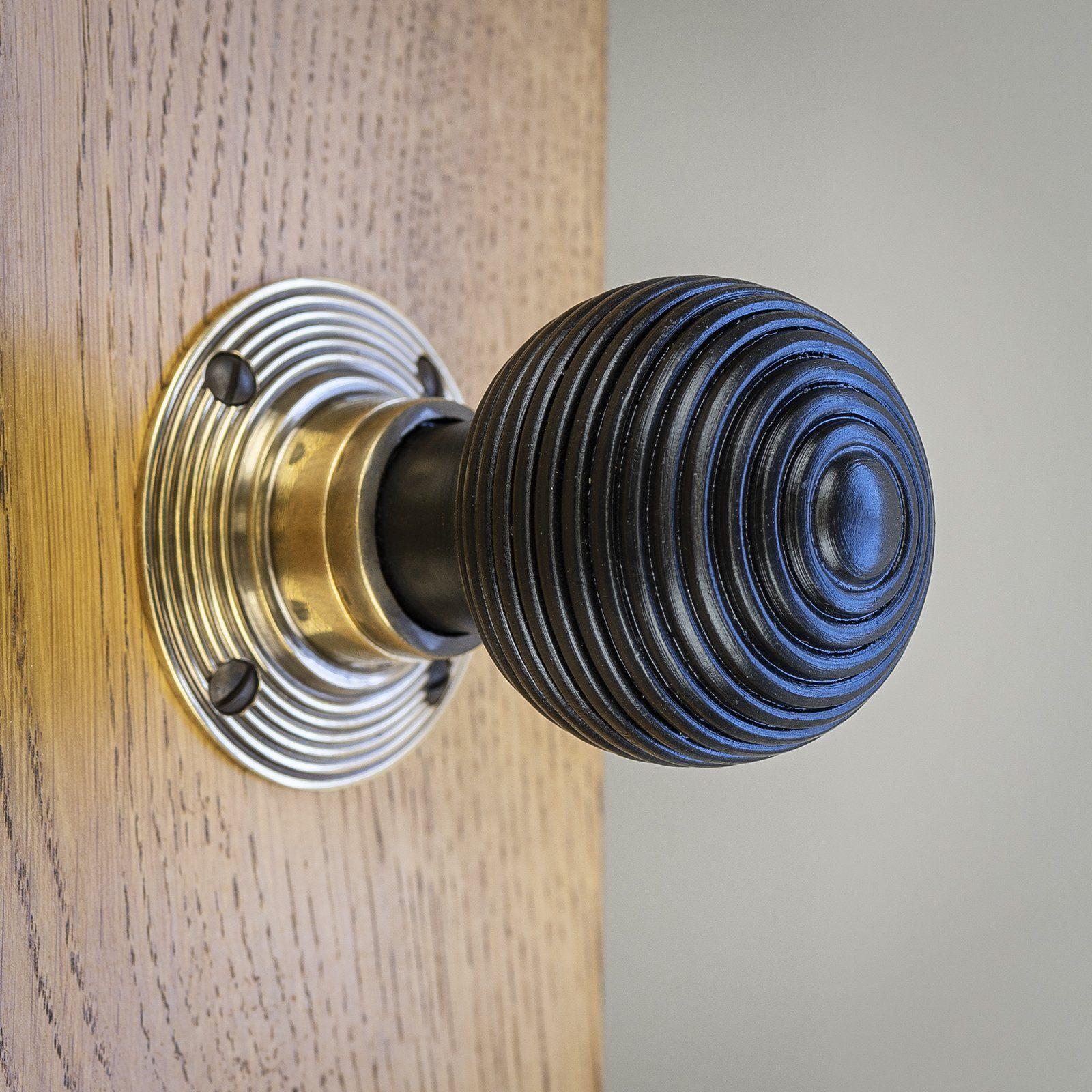 Ringed Natural Door Knobs Wooden Bun /& Ringed Rosewood /& Ebonised Pair New