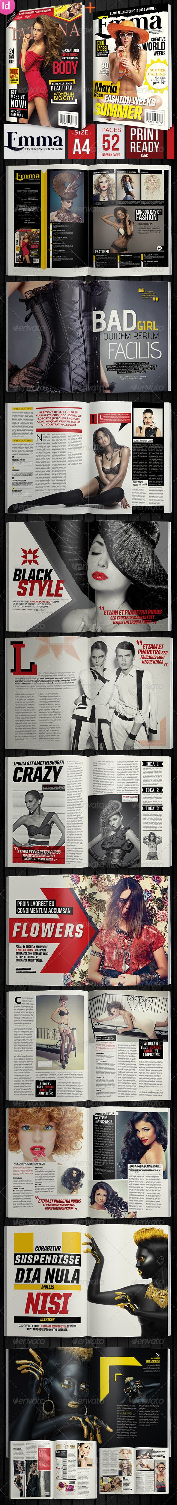 Emma Fashion Magazine + 2 Covers | Template, Print templates and Fonts