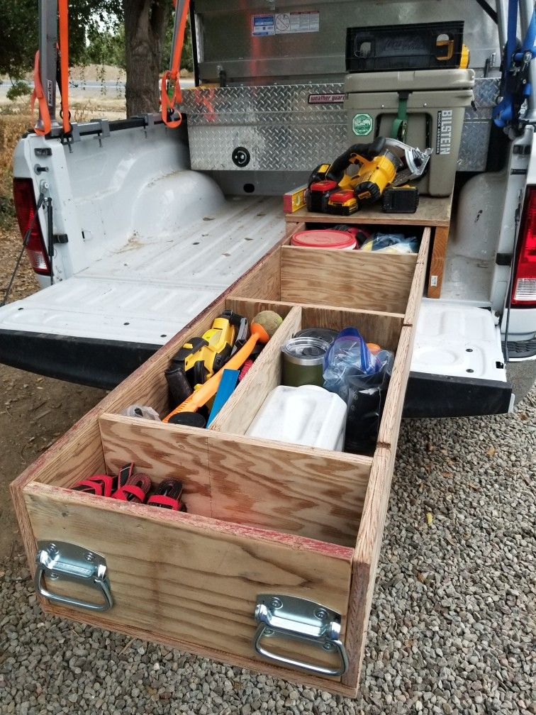 Scrap plywood pull out drawer for truck bed Truck bed
