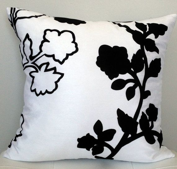 FALL CLEARANCE SALE White Pillow Modern Floral Pillow Black New Decorative Pillows Clearance Sale