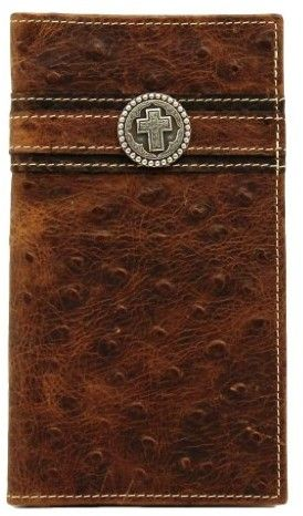 Ariat Western Mens Wallet Rodeo Leather Ostrich Print Cross Concho A3517402