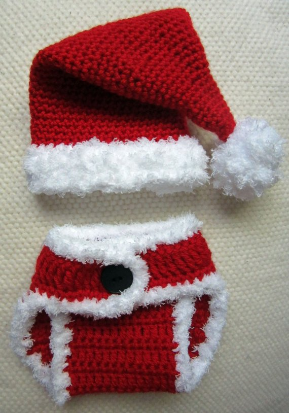 f98a4dbf159 Crochet Santa Hat and Diaper Cover