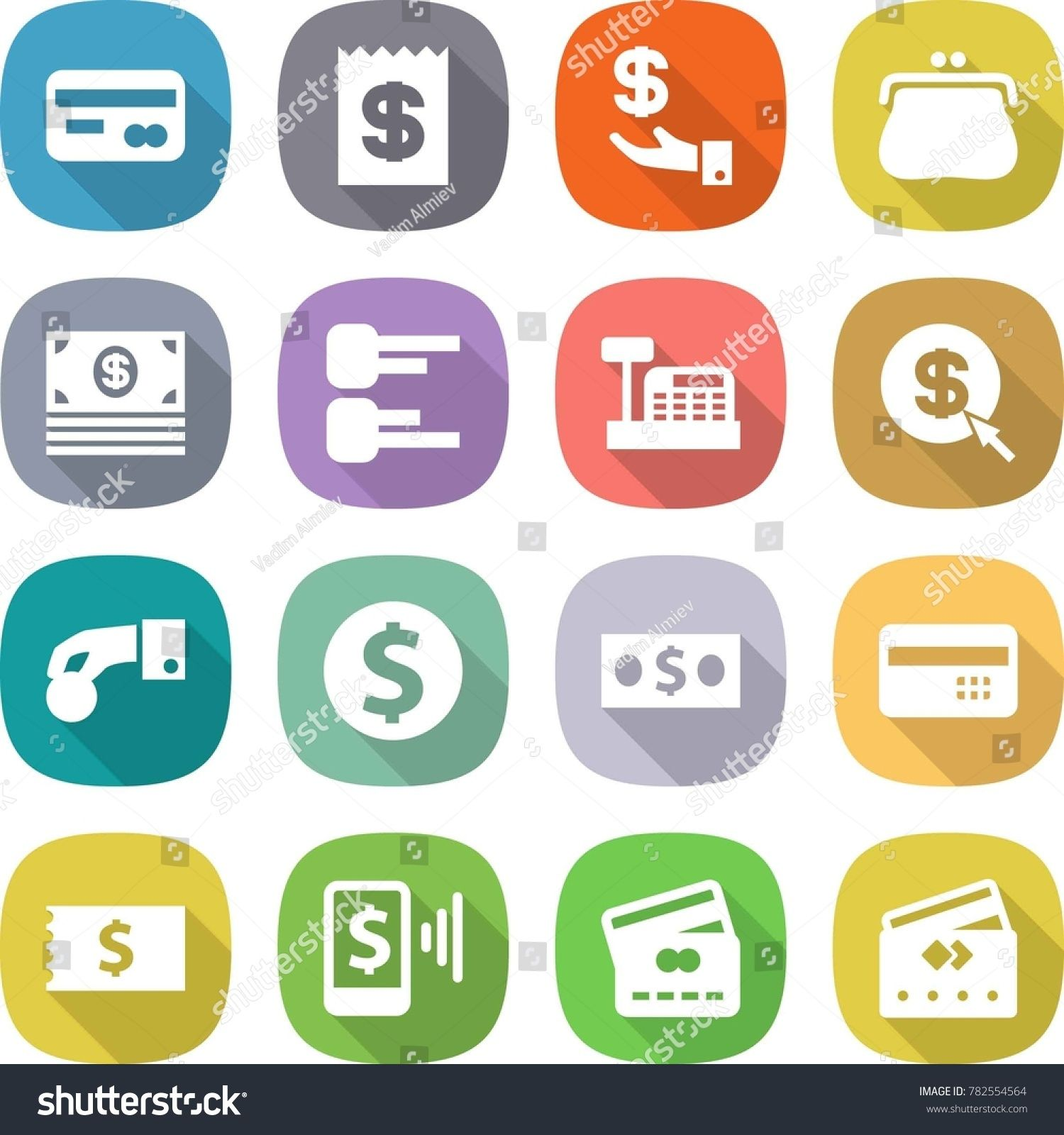 Flat Vector Icon Set Card Vector Receipt Investment Purse Money Diagram Cashbox Dollar Arrow Hand Sponsored Wedding Brochure Money Purse Investing