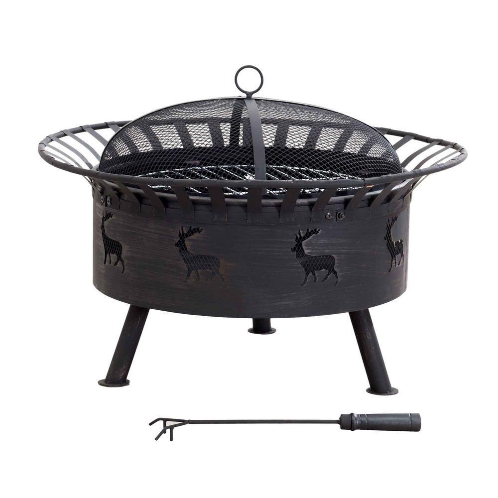 Sunjoy 32 in. x 23.62 in. Round Steel Wood-Burning Fire Pit in Elk Design in Black with Brush-110501023