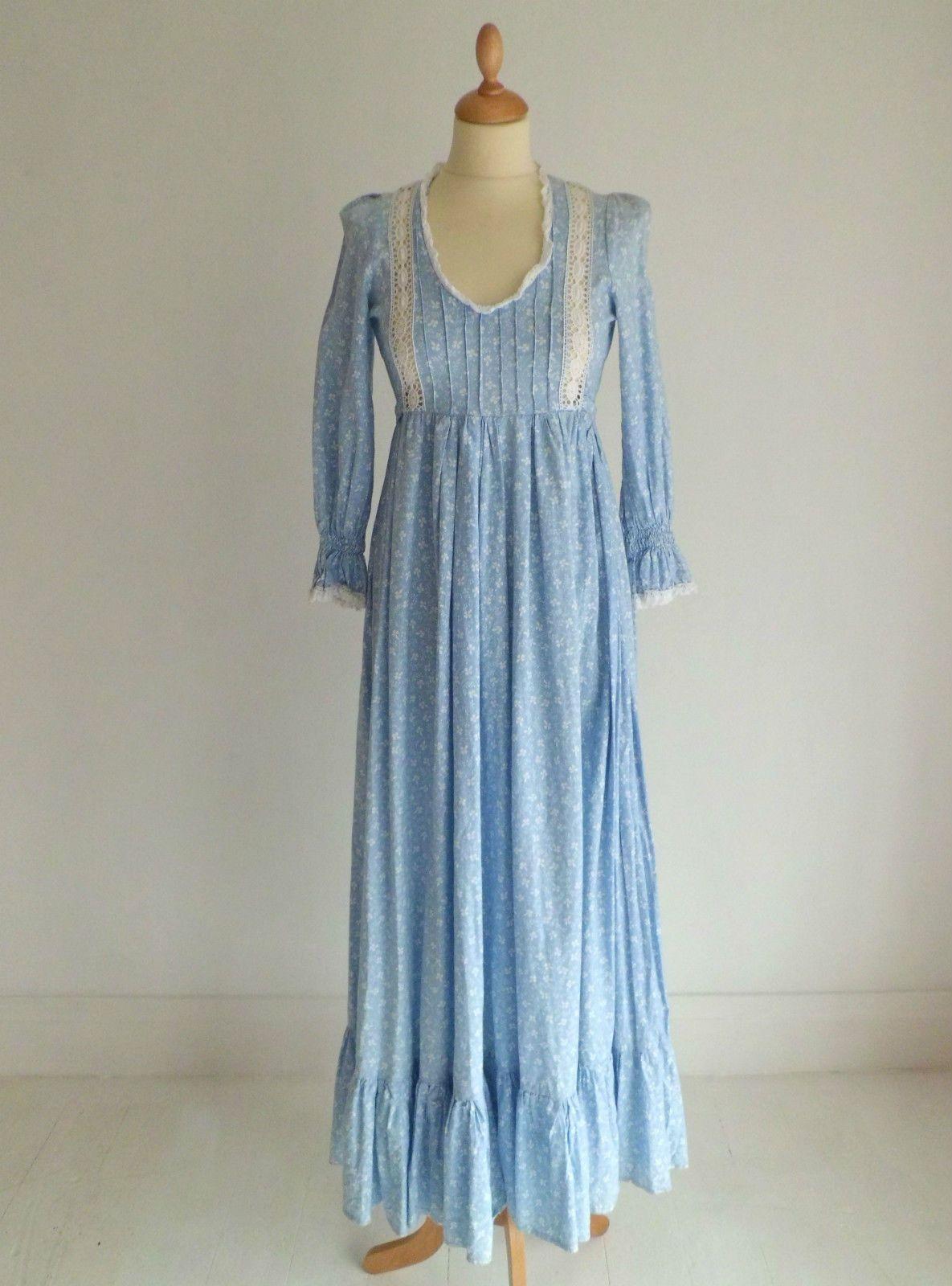 9afac6653 Vintage late 1960s Laura Ashley pale pastel blue & white floral maxi long  dress | eBay