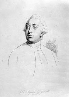 H.M. King George III as depicted in this mezzotint from a portrait by Thomas Frye, dated 1762. Two years after his accession.