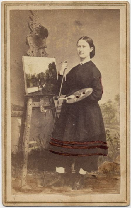 """Bloomer or """"Dress Reform"""" Costume- endorsed by Amelia Bloomer; consisted of full trousers gathered at the ankle, over which a dress with a knee-length skirt was placed"""