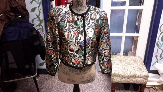 metallic crop jacket in gold and multicolor. for by RCMooreVintage