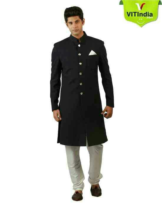 Royal Designers Black Bollywood Nehru Sherwani For Men