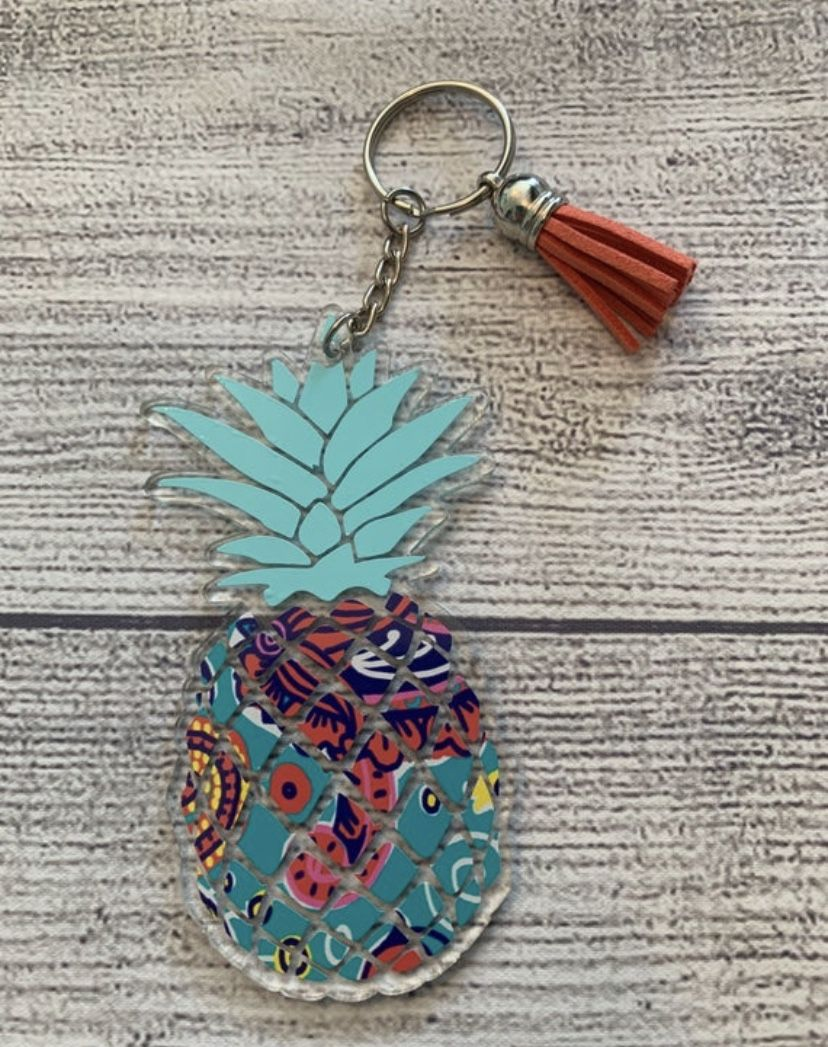 Teal Acrylic Pineapple Keychain