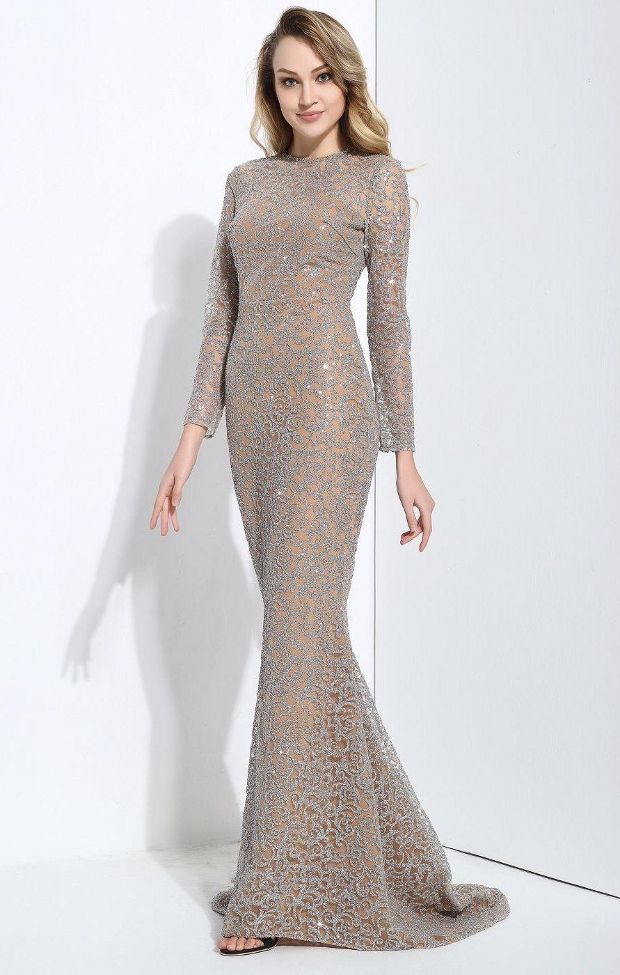 Allure silver glitter embellished long sleeve fishtail maxi dress