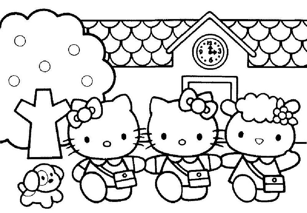 Coloriage De Fee Hello Kitty.Coloriage Hello Kitty Et Ses Amies A La Sortie De L Ecole Hello