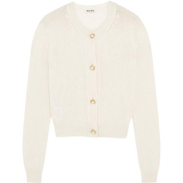 Miu Miu Cropped embellished cashmere cardigan (14 725 ZAR ...