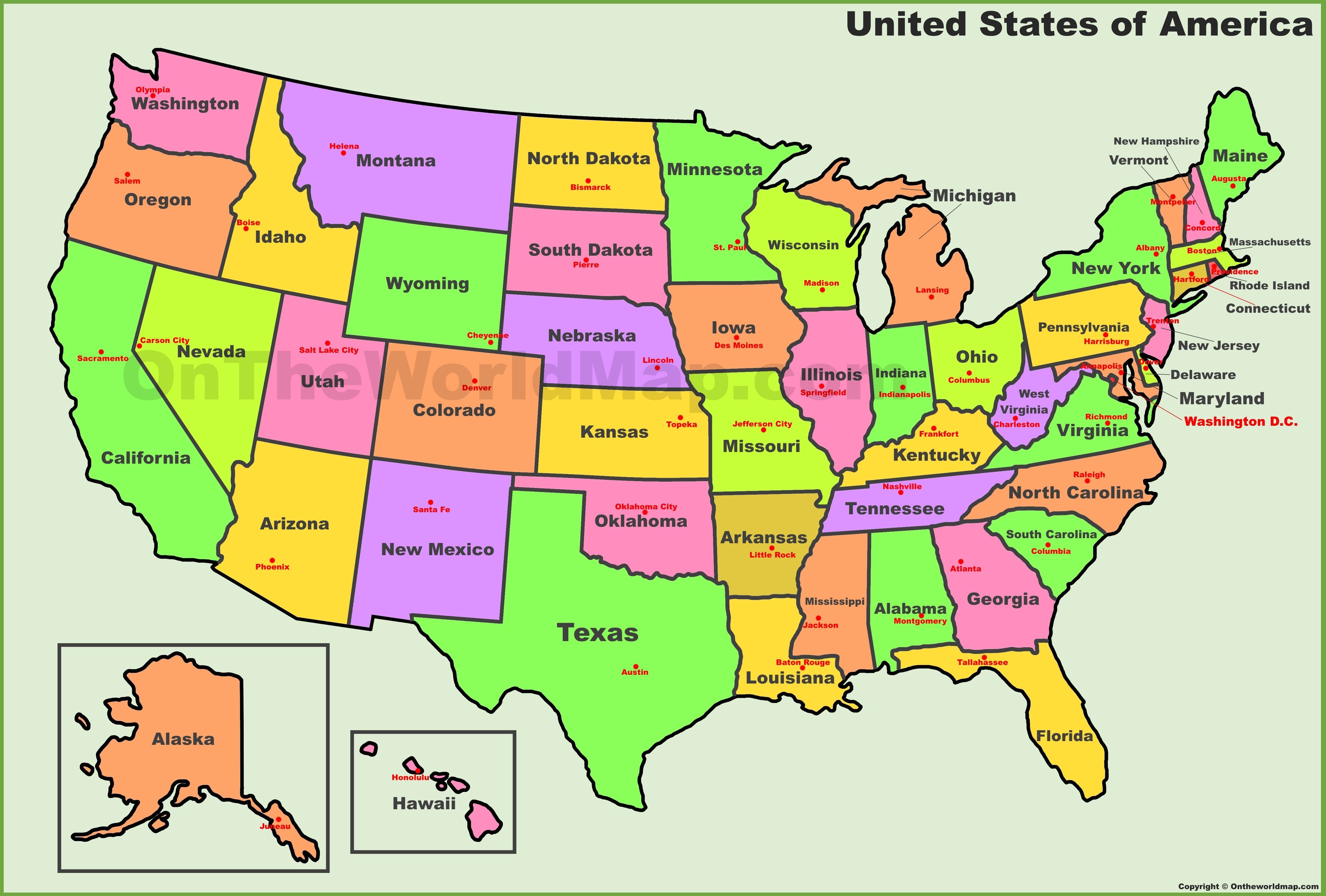 Usa States And Capitals Map With Images