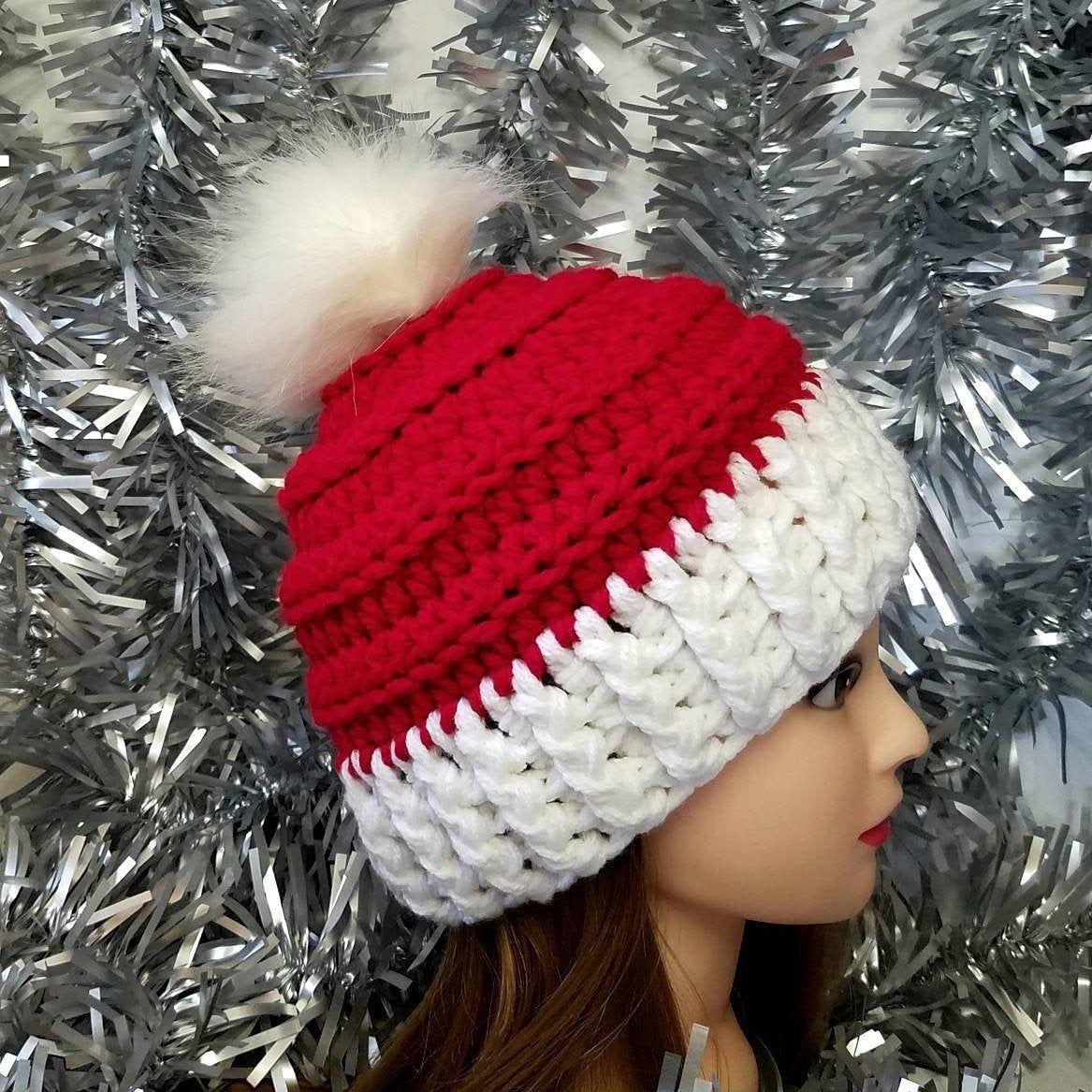 Crochet Santa Beanie - Fits 6 years-Adult Small (21