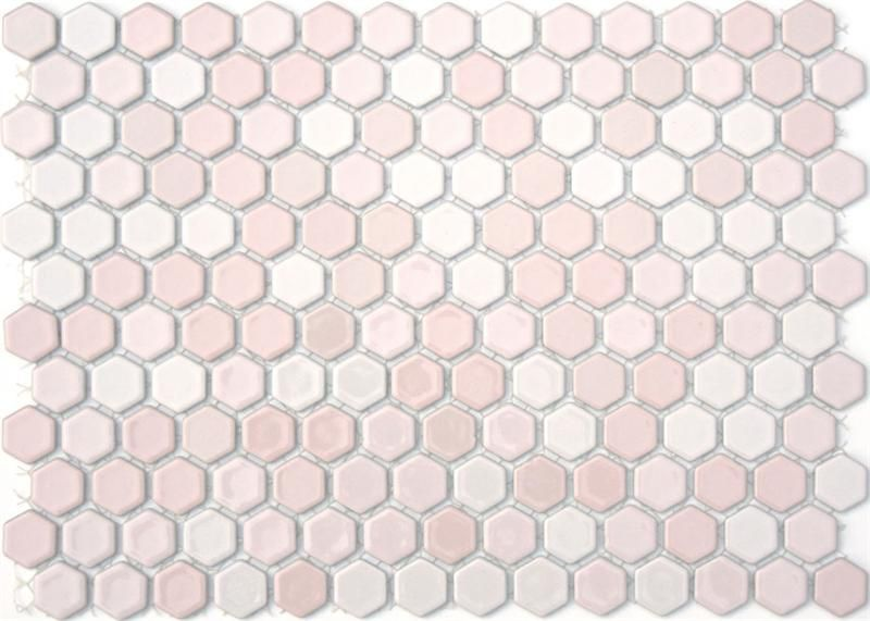 Lyric 1 X 1 Glazed Porcelain Mosaic Hex Tile In Laugh Pink Mosaic Bathroom Tile Glass Tile Design Pink Bathroom Tiles