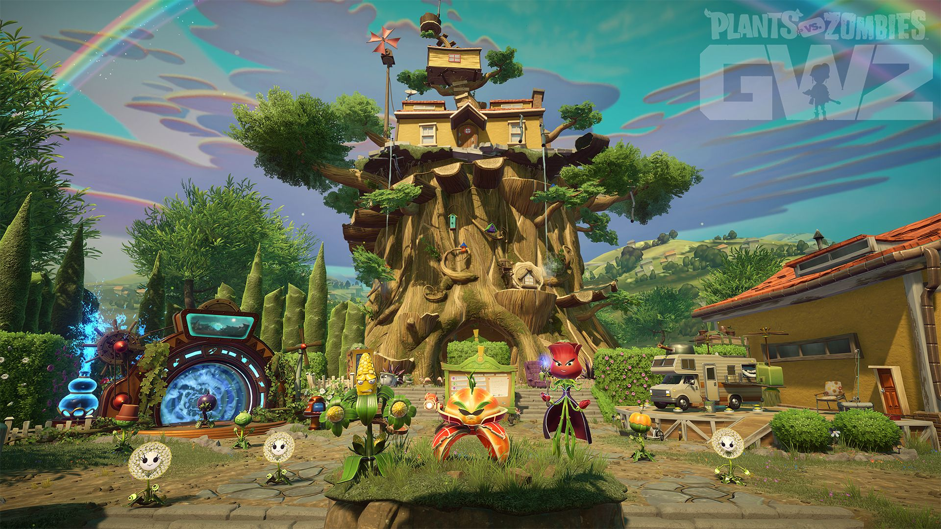 Plants Vs Zombies Garden Warfare 2 Introduces More Ways To Play With New Backyard Battleground Zombies Capturas De Tela Tower Defense