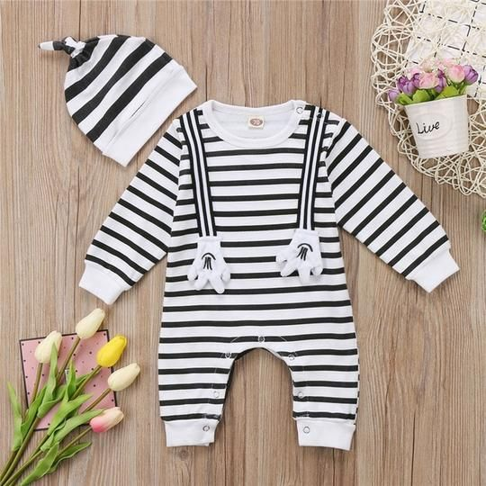 Newborn Baby Girls Boys Clothes Romper Cotton Stripe Long Sleeve Bunny Outfits