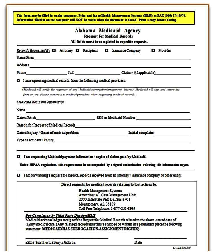 Sample Medical Records Request Form Medical Records Medical