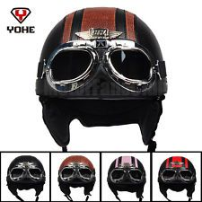 Motorcycle Scooter Open Face Leather Harley Half Helmet Vintage Goggles DOT ECE