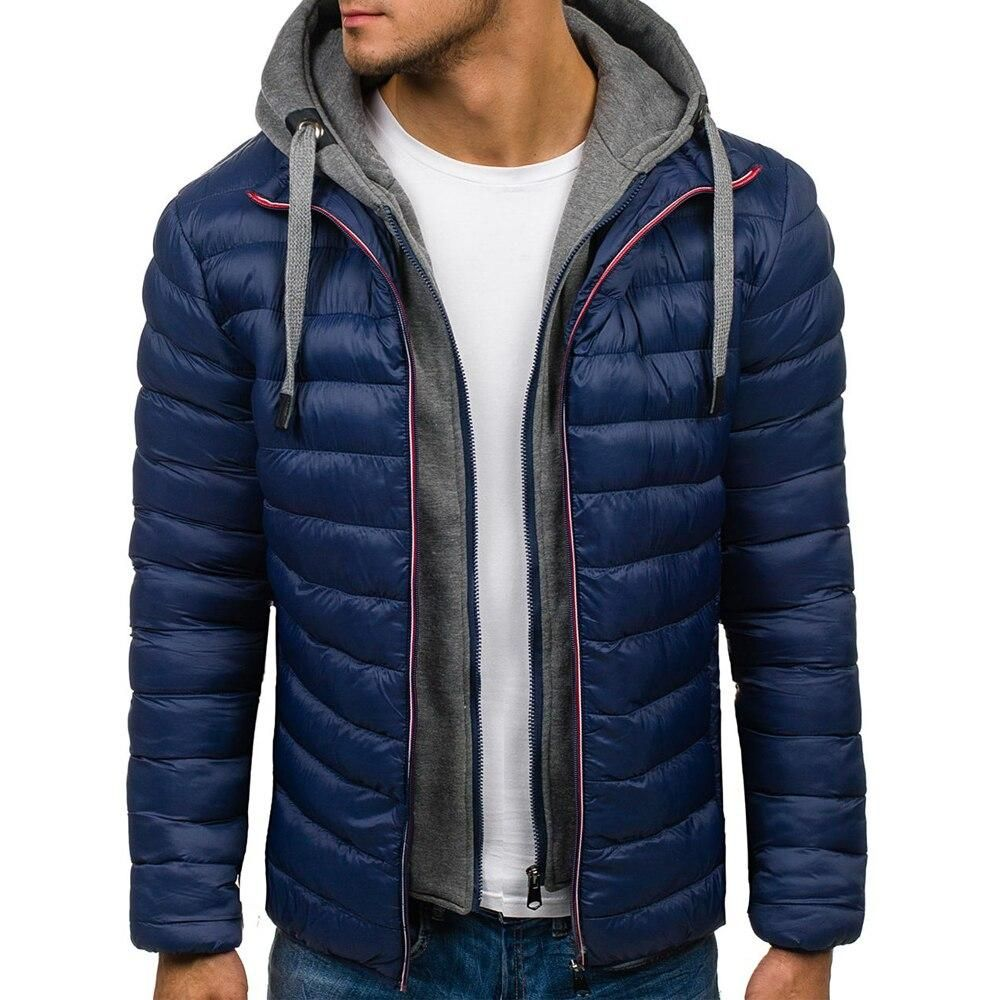 Parka de invierno con capucha para hombre – azul marino / S  – Moda