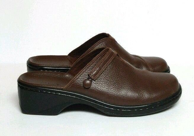 Clarks Clog Slip On Mules Pebbled Brown Black Leather Women's 7 M Shoes  71411 #Clarks