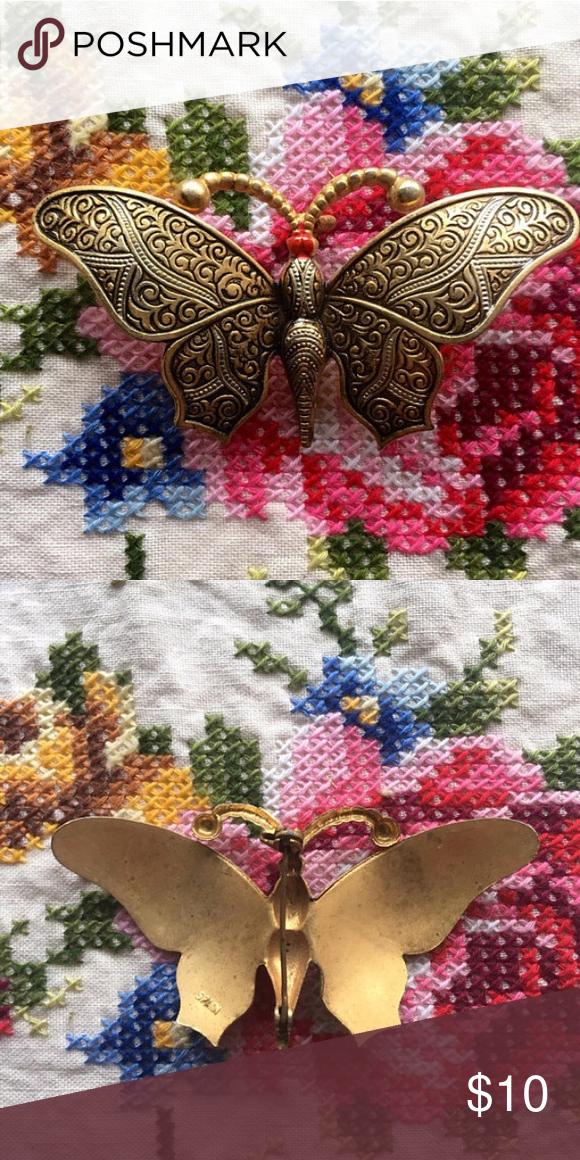 Vintage Brass Butterfly Brooch Pin Pretty brass butterfly
